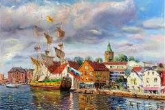 Vågen, Stavanger II Oljemaleri (50x65 cm) kr 38000 ur