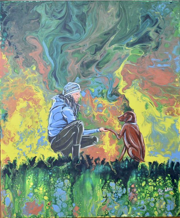 A Friend Akrylmaleri (65x54 cm) kr 8000 ur