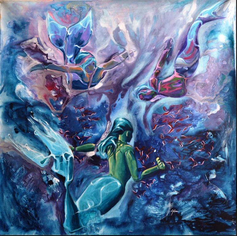Sirens of the Ocean Akrylmaleri (150x150 cm) kr 30000 ur