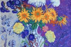 Blomsterbukett Akrylmaleri 105,5x75,5 cm 12000 ur