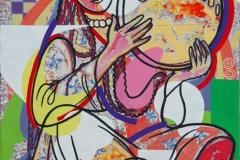 Pike med tamborin Akrylmaleri 72x50 cm 6000 ur