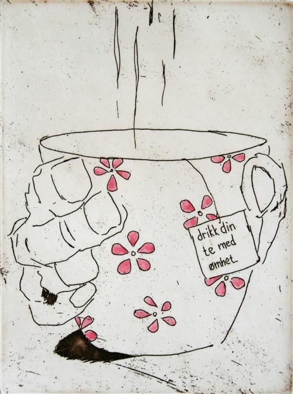 Drikk din te med ømhet Etsning 16x12 cm 900 ur