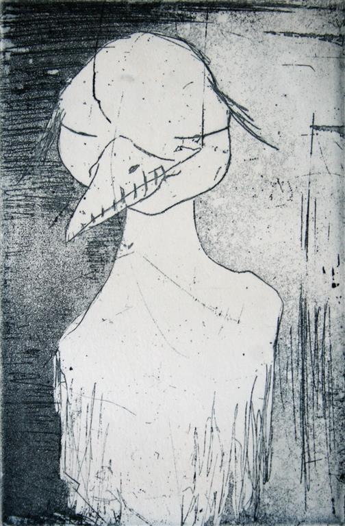 Silent bird Etsning 15x10 cm 900 ur