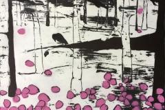 Cheny blossom leaves Litografi (58x78 cm) kr 4800 ur