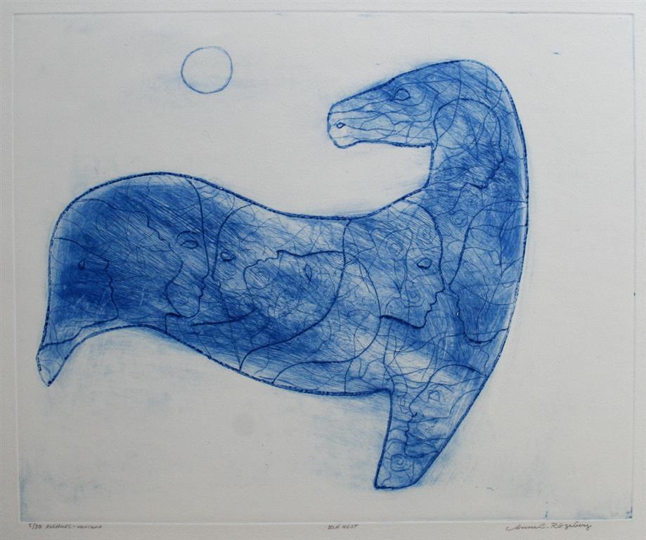 Blå hest Etsning 37,5x45,5 cm 3500 ur