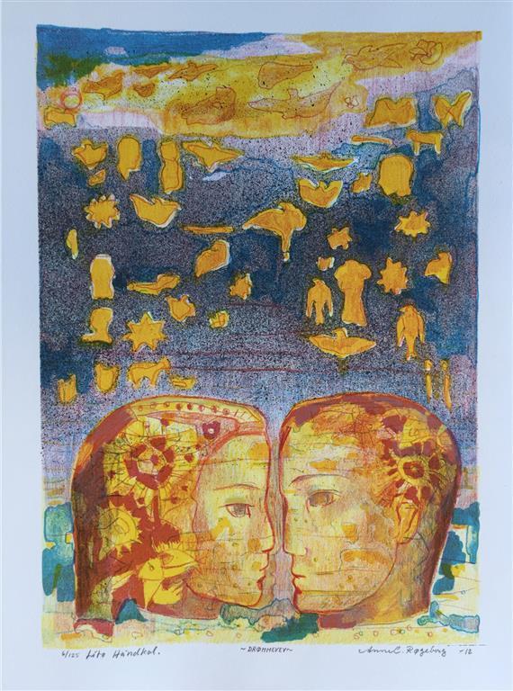 Drømmevev Litografi håndkolorert (32x23 cm) kr 1800 ur