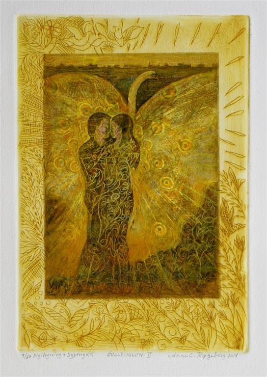 Gullfuglen II Digital tegning, etsning 28,5x19,5 cm 1800 ur