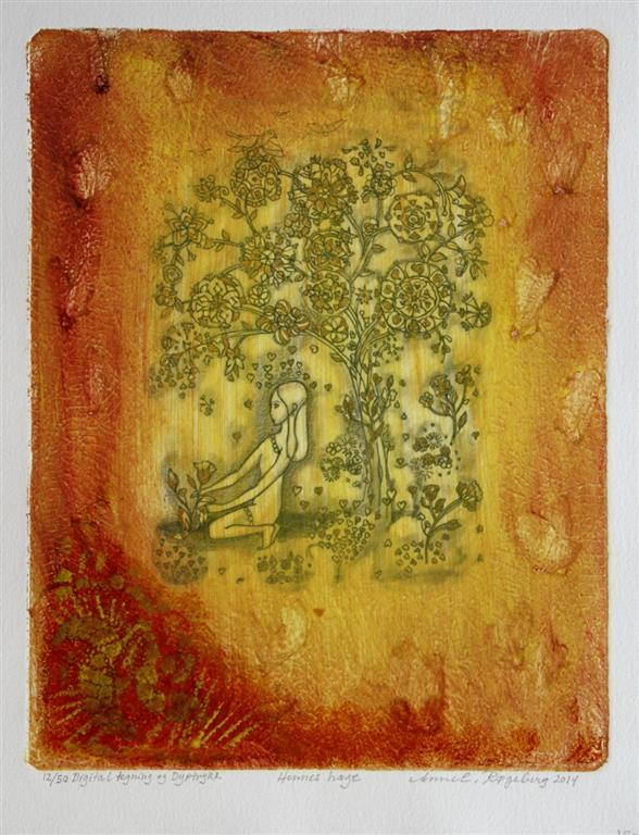 Hennes hage Digital tegning, etsning 32x25,5 cm 1800 ur