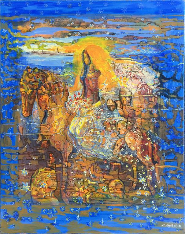 Hennes reise Akrylmaleri ( 90x70 cm) kr 25000 ur