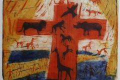 Korsfestelsen av dyreriked Etsning (42x50,5 cm) kr 3000 ur