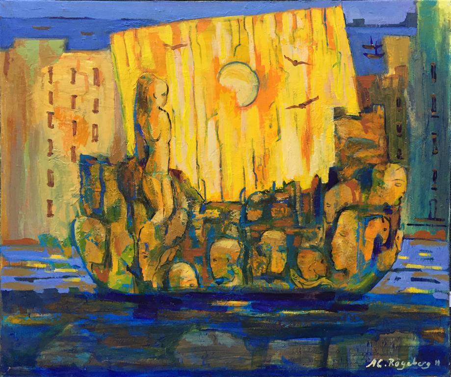 Fergen Akrylmaleri (60x51 cm) kr 7000 ur