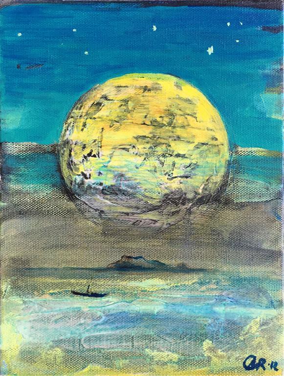 Landskap med måne Akrylmaleri (24x18 cm) kr 1600 ur