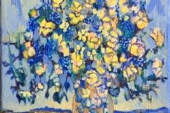 Bukett (med seilbåt) Akrylmaleri (35x26 cm) kr 3500 ur