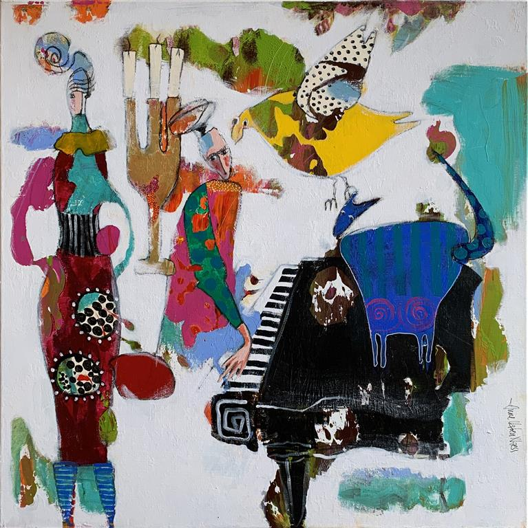 13. Tonefølge Akrylmaleri (90x90 cm) kr 11000 ur