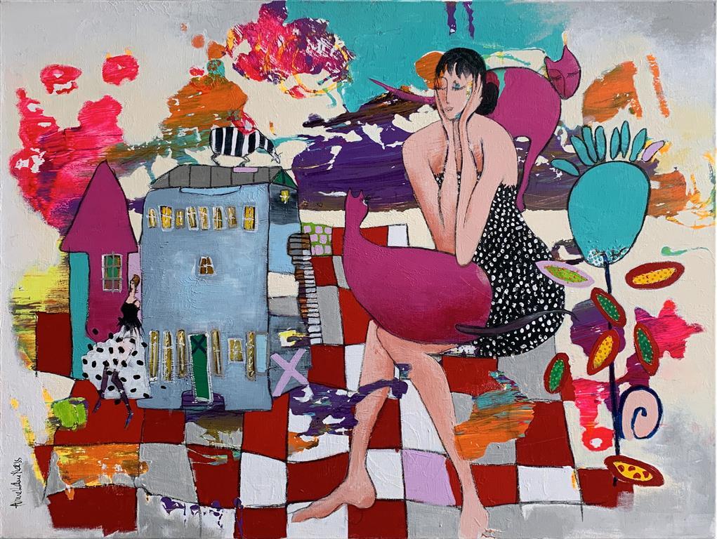 18. Tiden er livets søster Akrylmaleri (90x116 cm) kr 13000 ur