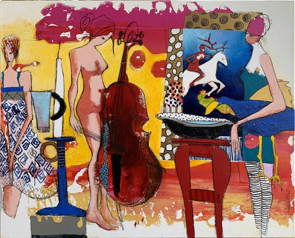 23. Når jeg begynner å spille Akrylmaleri (80x100 cm) kr 11000 ur