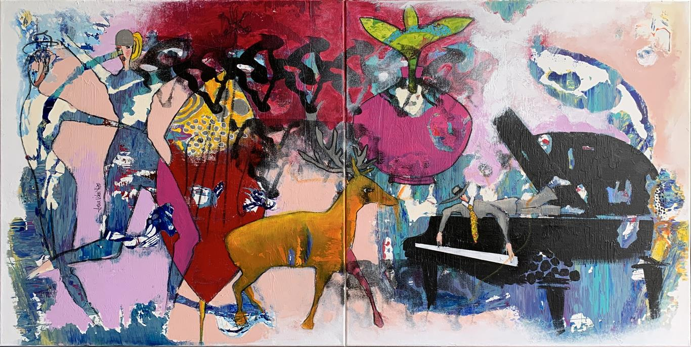 24. Mister Piano with Friends Akrylmaleri (80x160 cm) kr 16000 ur