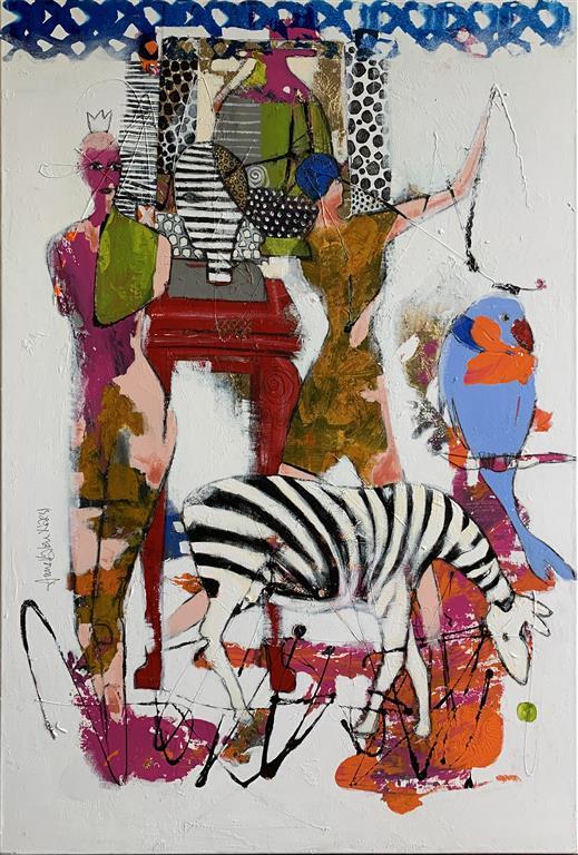 42. Zebraspørsmål Akrylmaleri (150x100 cm) kr 17000 ur