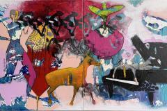 24. Mister Piano with Friends Akrylmaleri (80x160 cm) kr 16000 ur