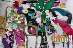 9. People play Akrylmaleri (100x100 cm) kr 13000 ur