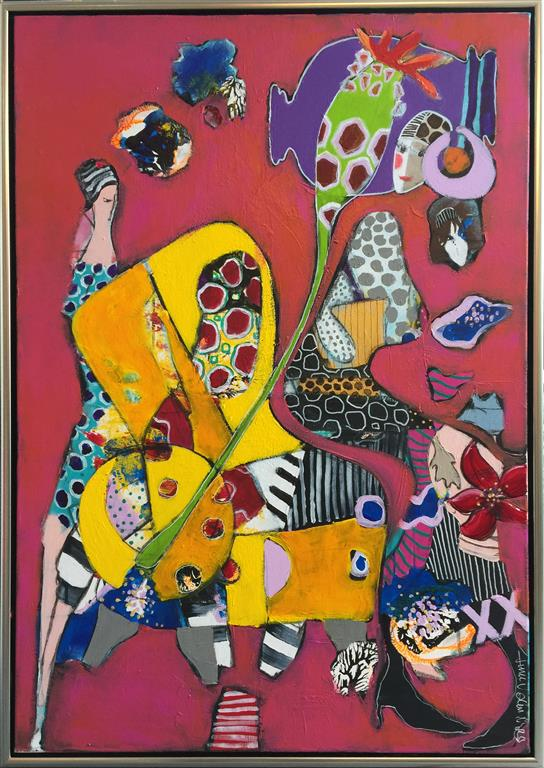 Kvinnene og stolen Akrylmaleri (85x60 cm) kr 7500 mr