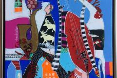 Saxofonistens flukt Akryl på lerret (40x40 cm) kr 4500 mr