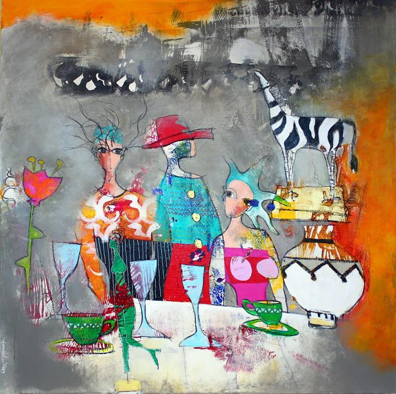 Babette eller ikke Akrylmaleri 100x100 cm 10500 ur