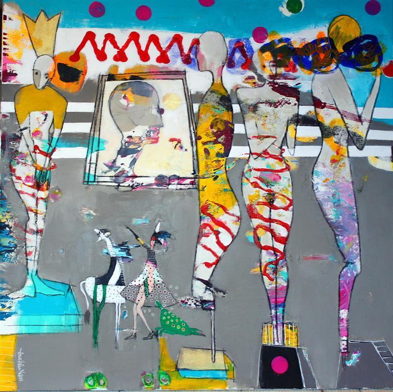 Crowns and Clowns Akrylmaleri 100x100 cm 10500 ur