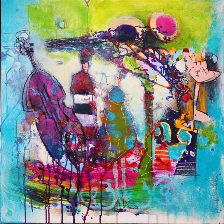 En ny fantastisk dag Akrylmaleri 70x70 cm 7000 ur