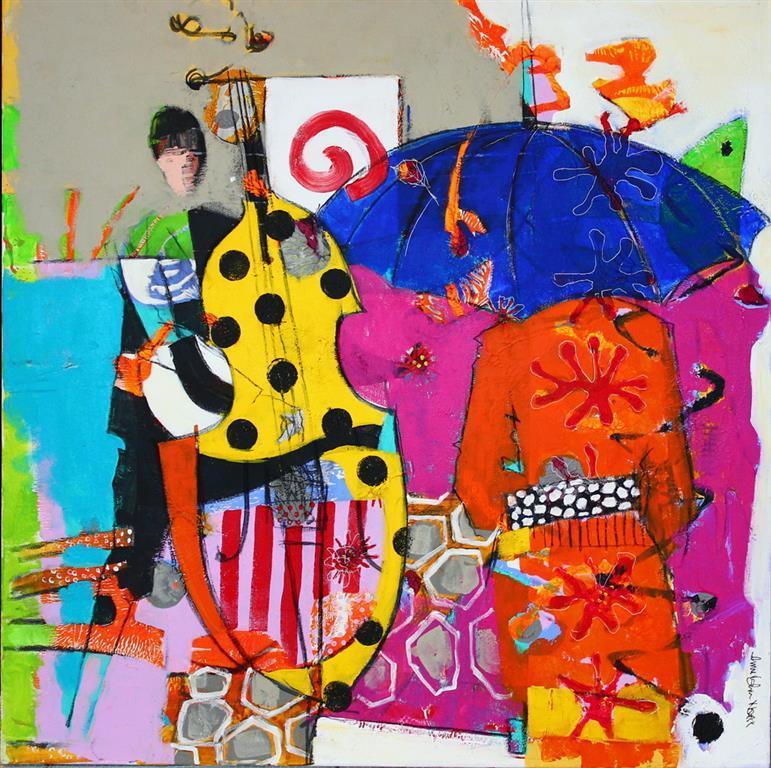 Hun lytter Akrylmaleri 80x80 cm 8500 ur