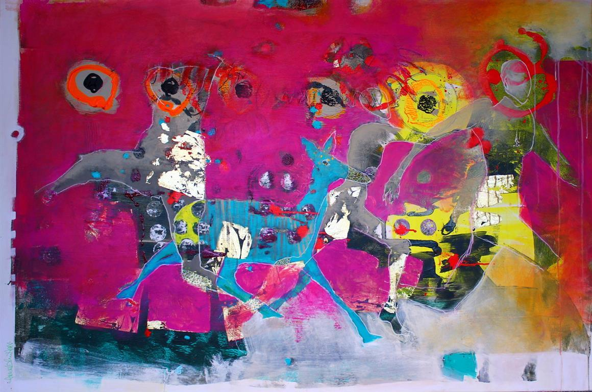 Hunting high and Love Akrylmaleri 100x150 cm 15000 ur