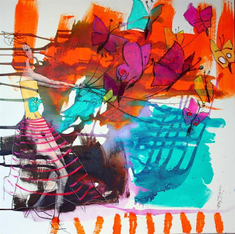 Madame Butterfly Akrylmaleri 100x100 cm 10500 ur
