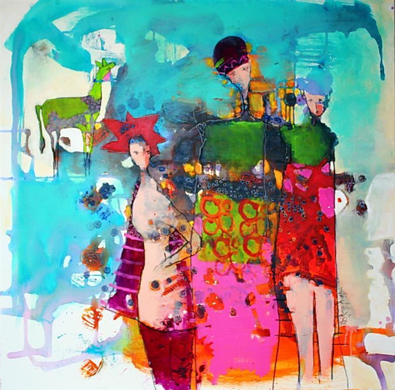 Tiden og vennskapet Akrylmaleri 100x100 cm 10500 ur