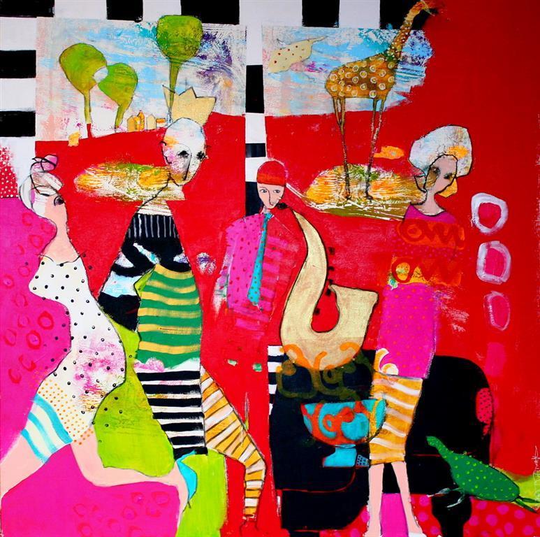 Tonefoelge Akrylmaleri 100x100 cm 10500 ur