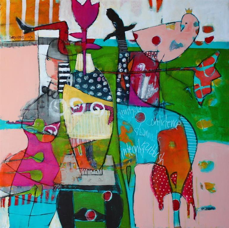 Tre oensker Akrylmaleri 80x80 cm 8500 ur