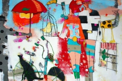 Alt paa en gang Akrylmaleri 100x100 cm 10500 ur