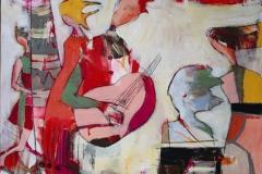 Den eneste som lytter Akrylmaleri 100x100 cm 10500 ur
