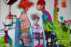 Det alle vet Akrylmaleri 100x100 cm 10500 ur