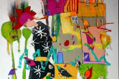 Kan gullfuglen fly Akrylmaleri 100x80 cm 9000 ur