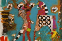 Maskedansen Akrylmaleri 100x100 cm 10500 ur