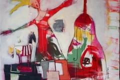 Med tiden paa hoeyre haand Akrylmaleri 90x90 cm 9000 ur