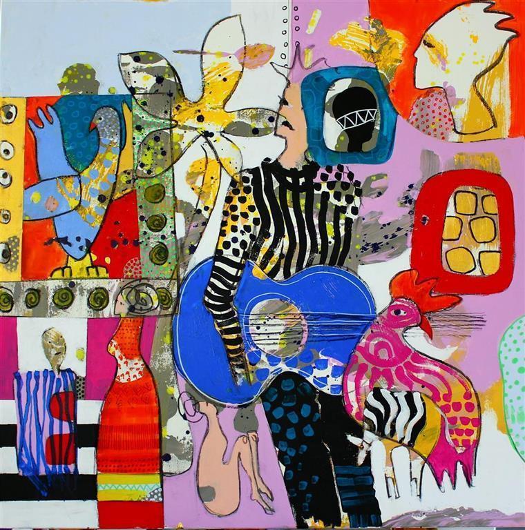 Bla gitar Akrylmaleri (85x85 cm) kr 9000 ur