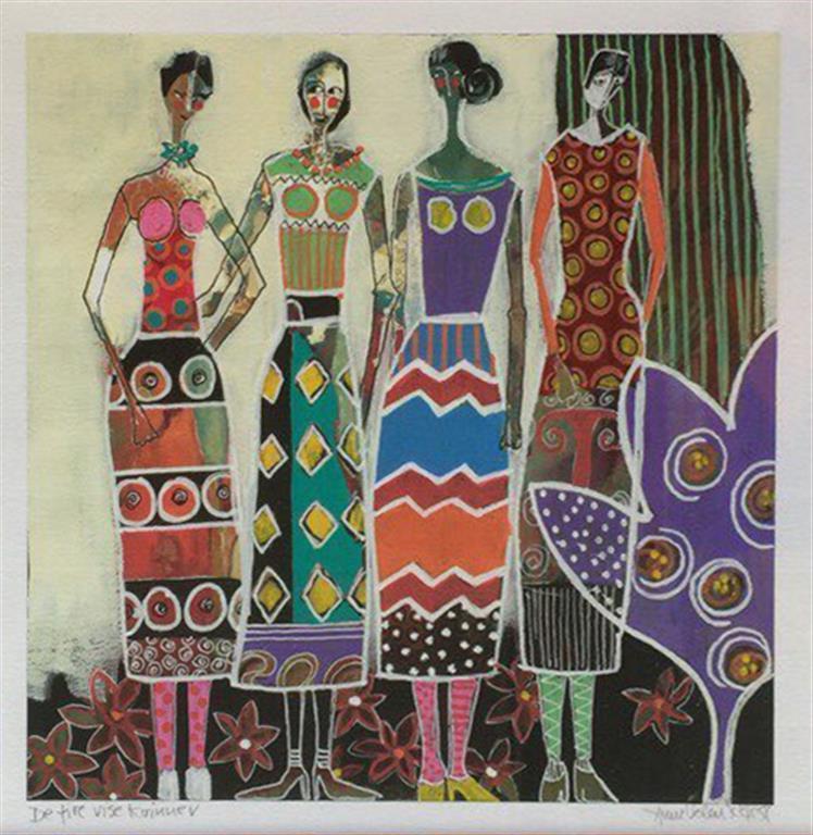 De fire vise kvinner Akrylmaleri (27x27 cm ur og 55x55 cm mr) kr 4000 mr