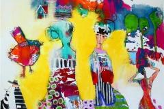 Enn en fugl i haret Akrylmaleri (100x100 cm) kr 11000 ur