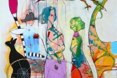 Han venter gjerne Akrylmaleri (100x100 cm) kr 11000 ur