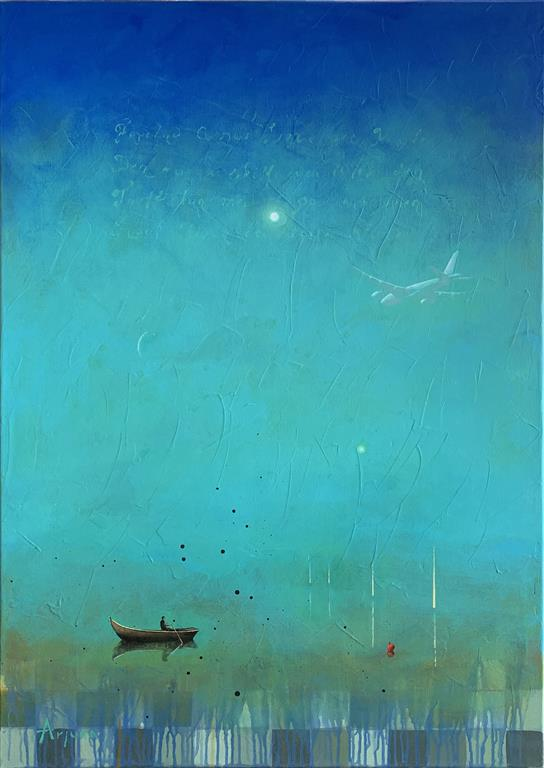 Alone on the lake Akrylmaleri (100x70 cm) kr 15000 ur