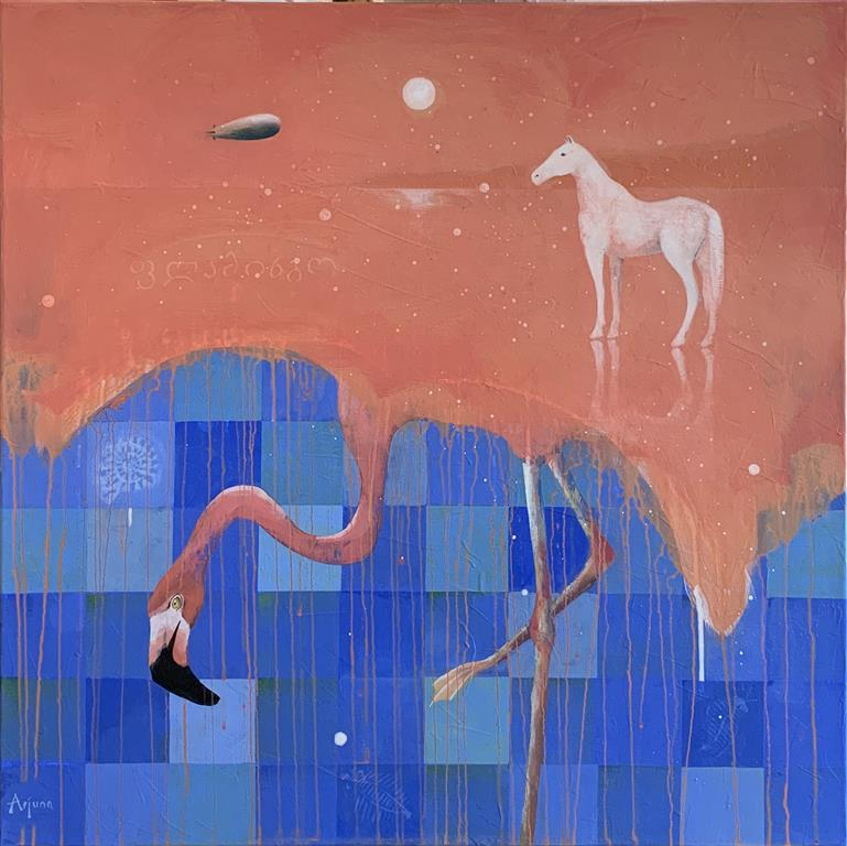 Flamingo blues Akrylmaleri (80x80 cm) kr 13000 ur