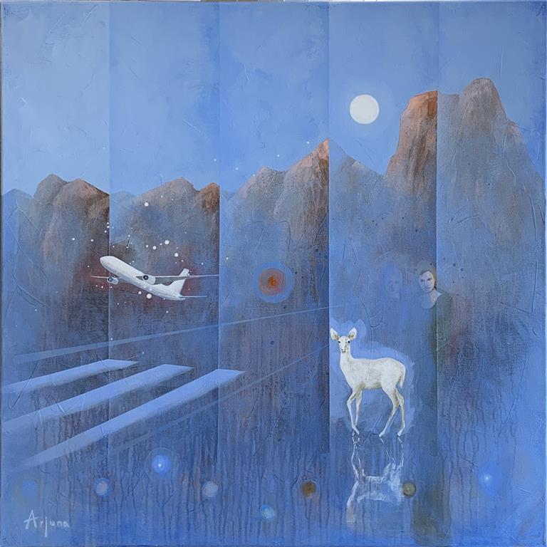 Floating runway Akrylmaleri (80x80 cm) kr 13000 ur
