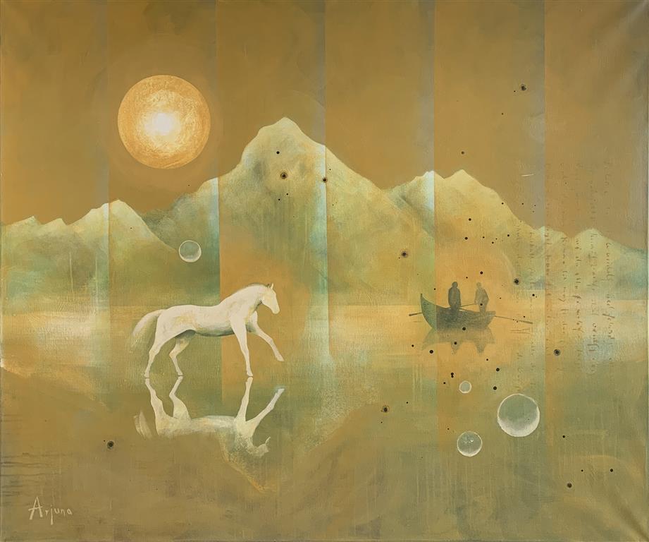 Mountain lake Akrylmaleri (100x120 cm) kr 22000 ur