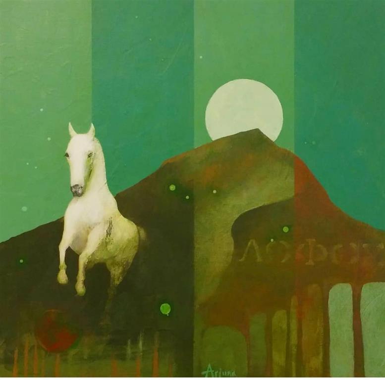 Stalling stallion Akrylmaleri (40x40 cm) kr 5500 ur